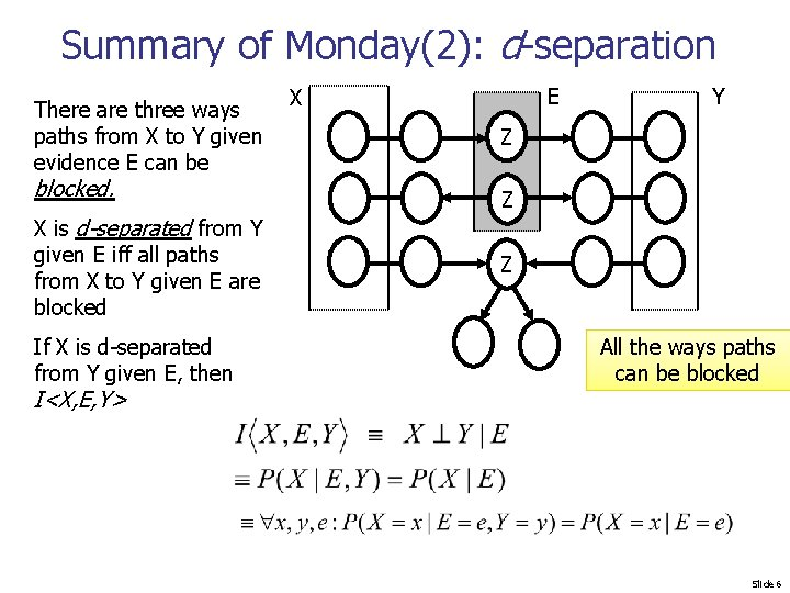 Summary of Monday(2): d-separation There are three ways paths from X to Y given