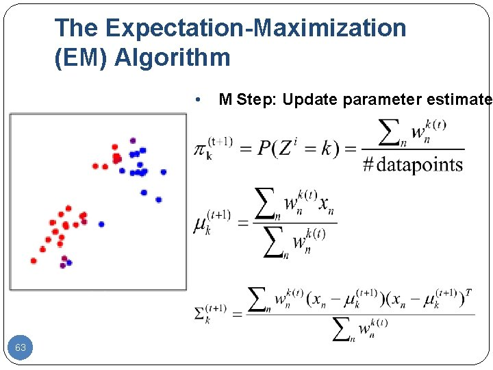 The Expectation-Maximization (EM) Algorithm • 63 M Step: Update parameter estimates