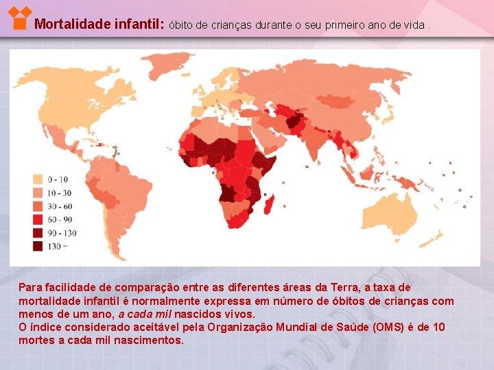 Mortalidade infantil: óbito de crianças durante o seu primeiro ano de vida. Para facilidade