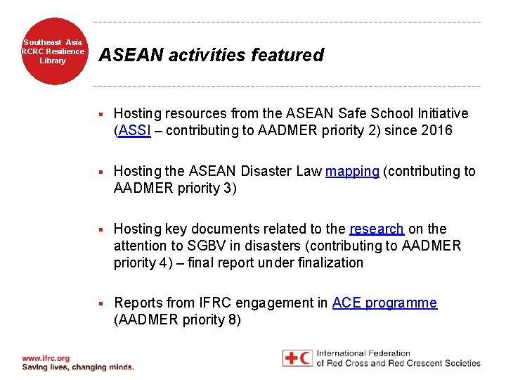 Southeast Asia RCRC Resilience Library ASEAN activities featured § Hosting resources from the ASEAN