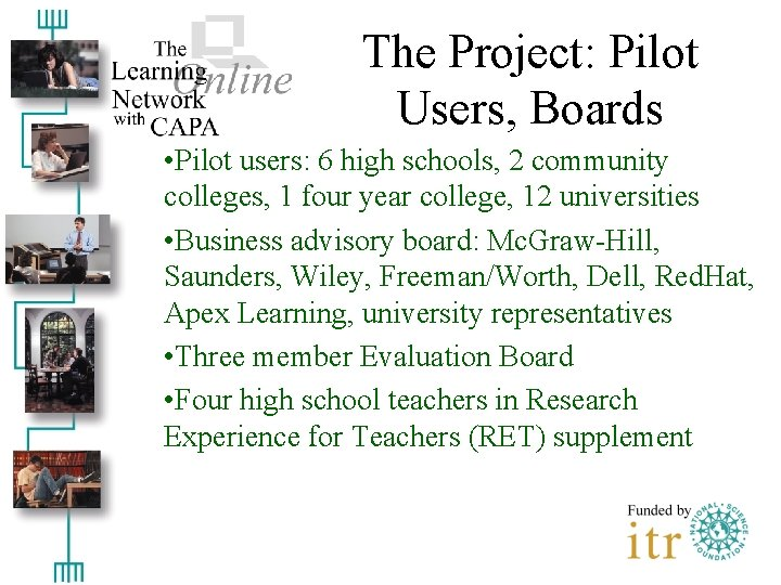 The Project: Pilot Users, Boards • Pilot users: 6 high schools, 2 community colleges,