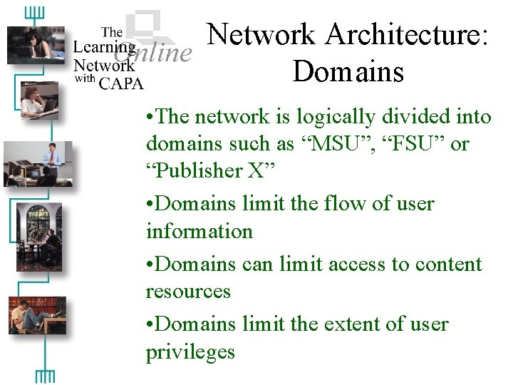 """Network Architecture: Domains • The network is logically divided into domains such as """"MSU"""","""
