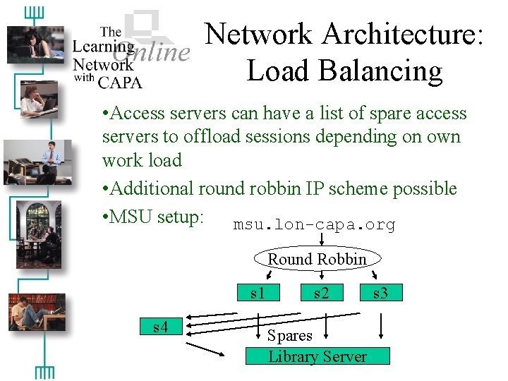 Network Architecture: Load Balancing • Access servers can have a list of spare access