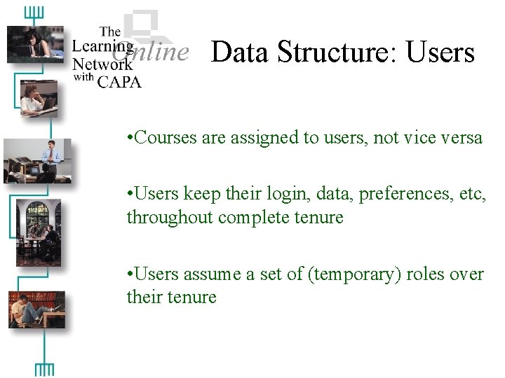 Data Structure: Users • Courses are assigned to users, not vice versa • Users