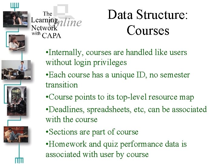 Data Structure: Courses • Internally, courses are handled like users without login privileges •