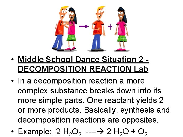 • Middle School Dance Situation 2 DECOMPOSITION REACTION Lab • In a decomposition