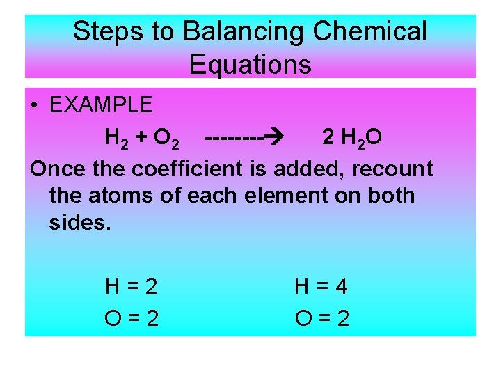 Steps to Balancing Chemical Equations • EXAMPLE H 2 + O 2 ---- 2