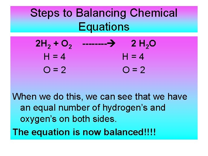 Steps to Balancing Chemical Equations 2 H 2 + O 2 H=4 O=2 ----