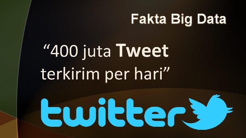 """Fakta Big Data """" 400 juta Tweet terkirim per hari"""""""