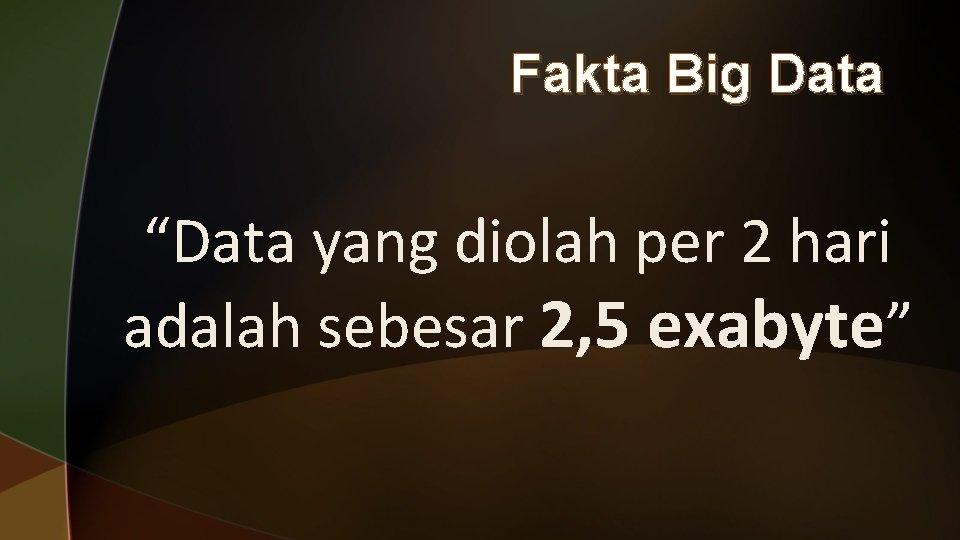 """Fakta Big Data """"Data yang diolah per 2 hari adalah sebesar 2, 5 exabyte"""""""