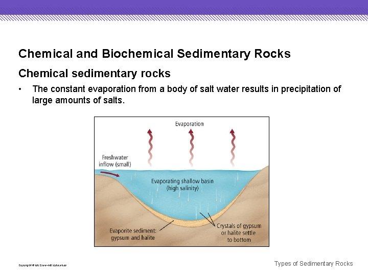 Chemical and Biochemical Sedimentary Rocks Chemical sedimentary rocks • The constant evaporation from a