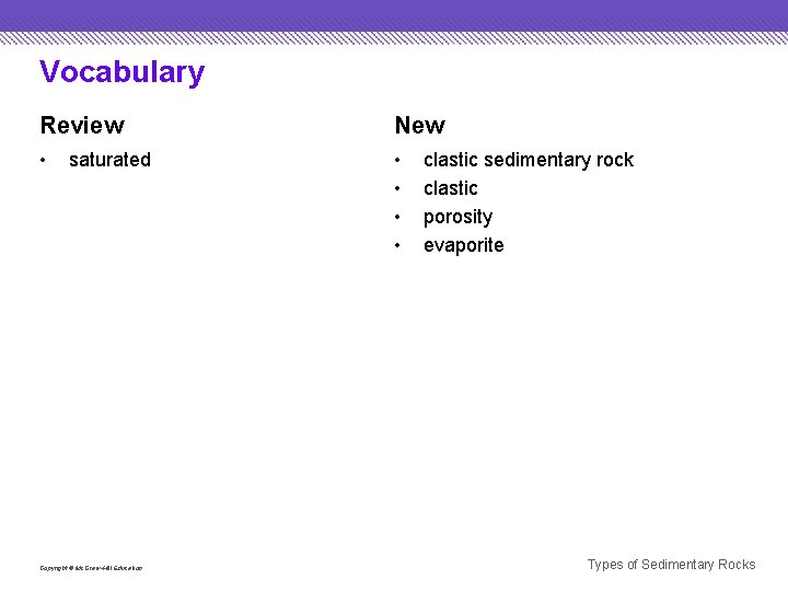 Vocabulary Review New • • • saturated Copyright © Mc. Graw-Hill Education clastic sedimentary