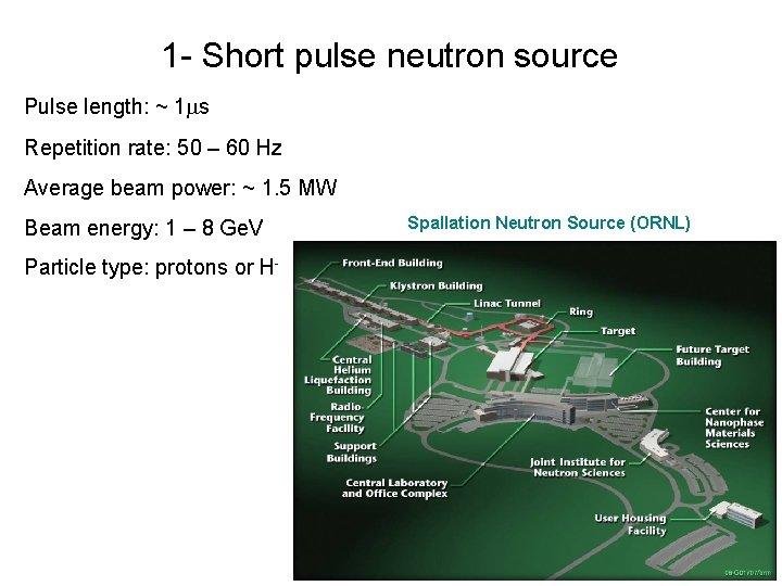 1 - Short pulse neutron source Pulse length: ~ 1 s Repetition rate: 50
