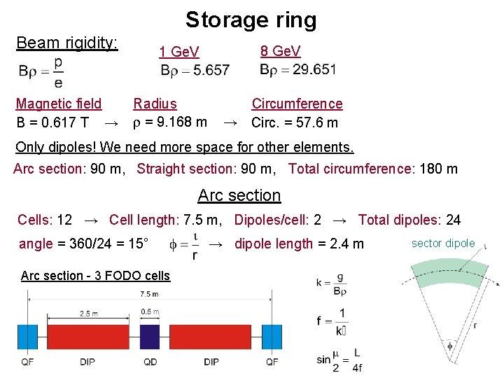 Storage ring Beam rigidity: Magnetic field B = 0. 617 T → 8 Ge.