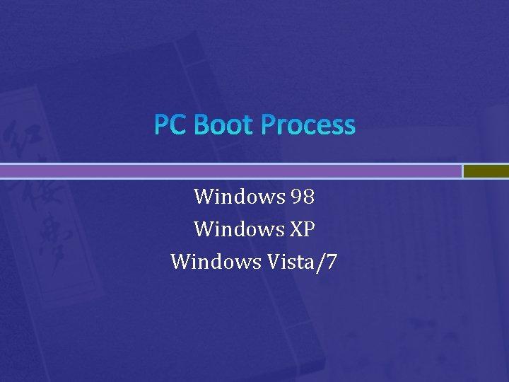 PC Boot Process Windows 98 Windows XP Windows Vista/7