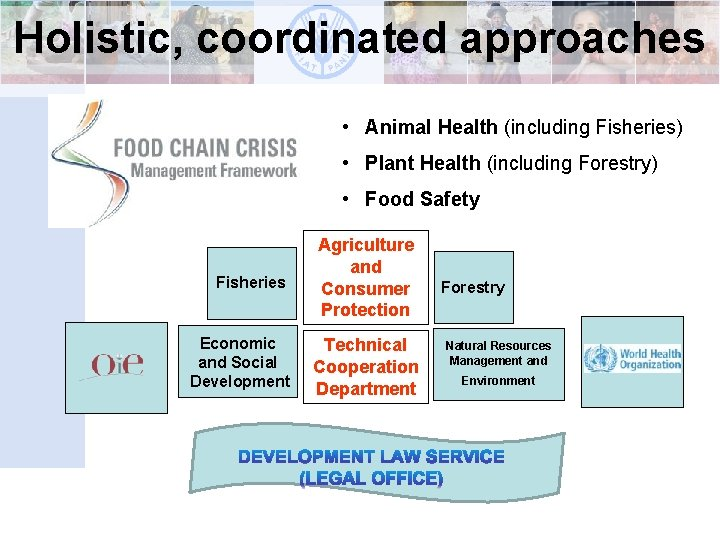 Holistic, coordinated approaches • Animal Health (including Fisheries) • Plant Health (including Forestry) •