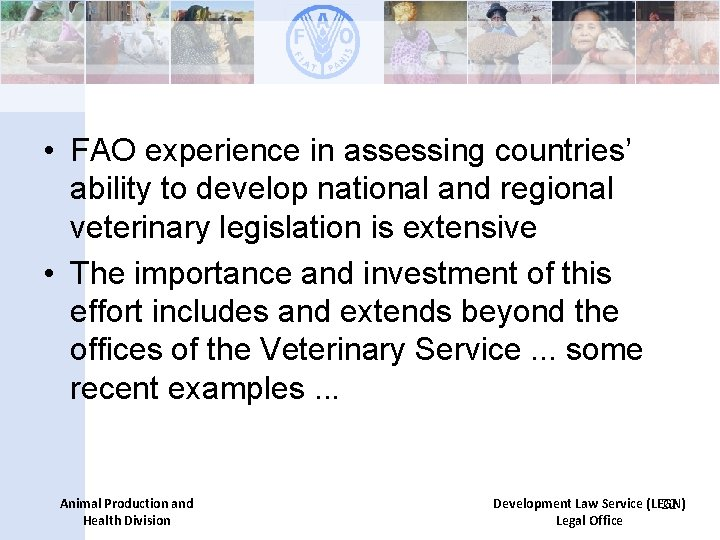 • FAO experience in assessing countries' ability to develop national and regional veterinary