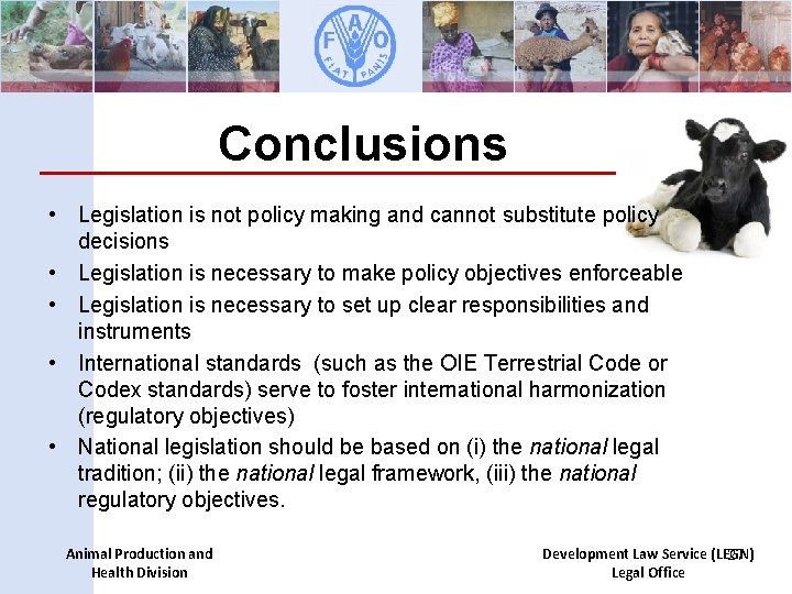 Conclusions • Legislation is not policy making and cannot substitute policy decisions • Legislation