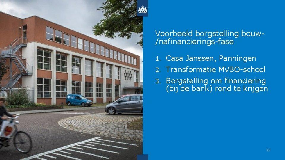 Voorbeeld borgstelling bouw/nafinancierings-fase 1. Casa Janssen, Panningen 2. Transformatie MVBO-school 3. Borgstelling om financiering