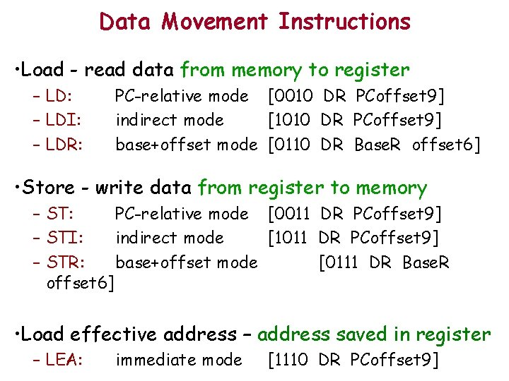 Data Movement Instructions • Load - read data from memory to register – LD: