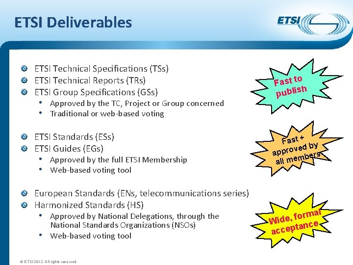 ETSI Deliverables ETSI Technical Specifications (TSs) ETSI Technical Reports (TRs) ETSI Group Specifications (GSs)