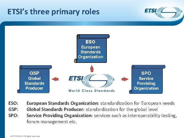 ETSI's three primary roles ESO European Standards Organization ESO: GSP: SPO: European Standards Organization: