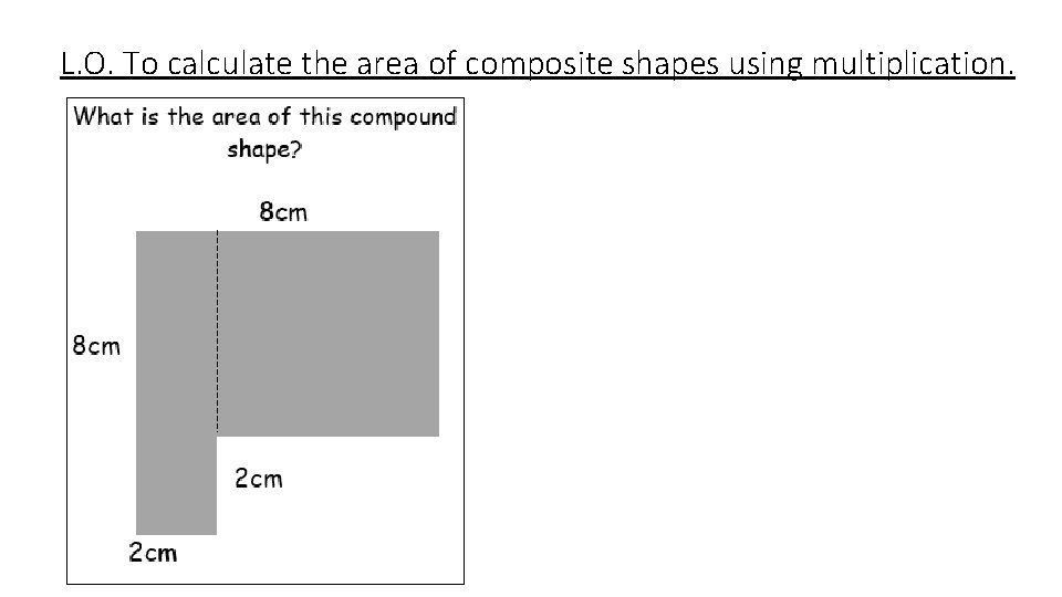 L. O. To calculate the area of composite shapes using multiplication.