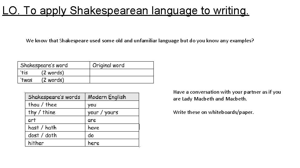 LO. To apply Shakespearean language to writing. We know that Shakespeare used some old