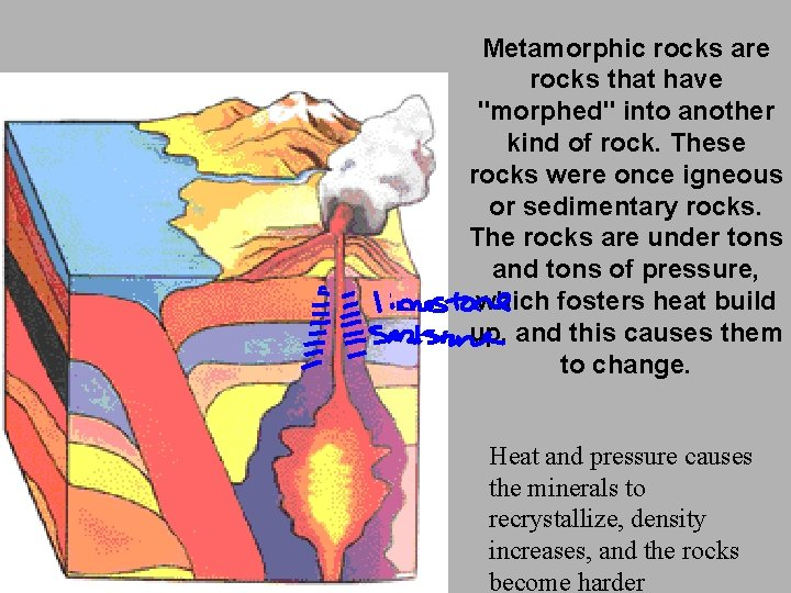 """Metamorphic rocks are rocks that have """"morphed"""" into another kind of rock. These rocks"""