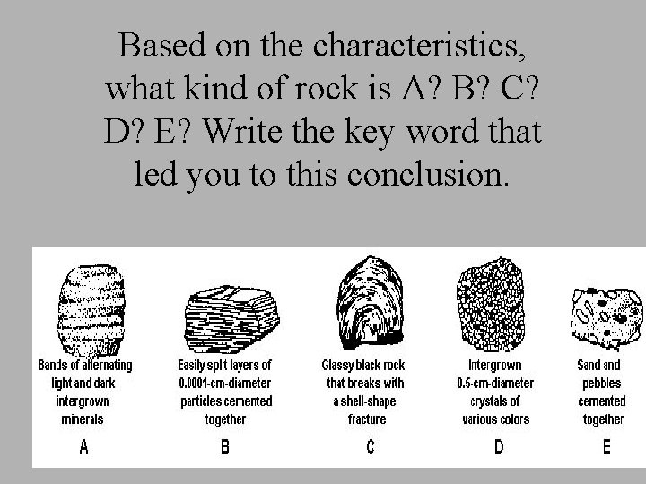 Based on the characteristics, what kind of rock is A? B? C? D? E?