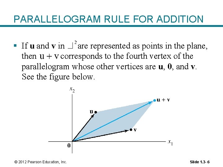 PARALLELOGRAM RULE FOR ADDITION § If u and v in are represented as points