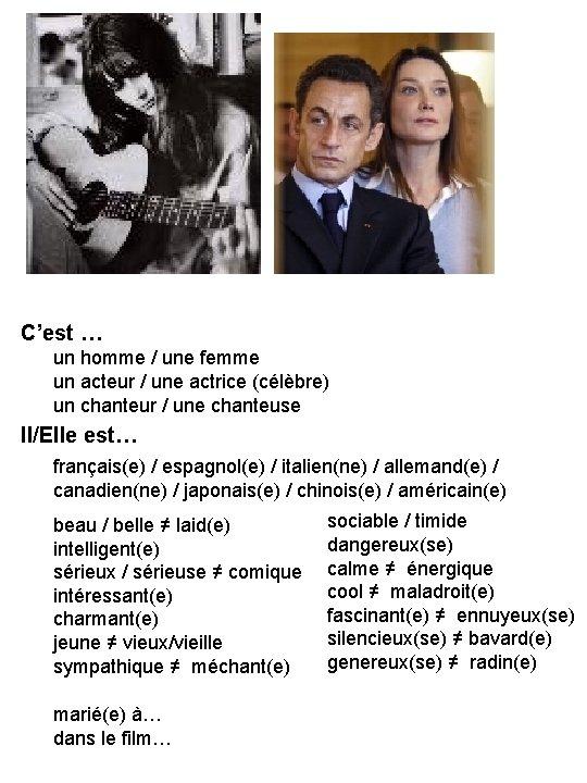 C'est … un homme / une femme un acteur / une actrice (célèbre) un