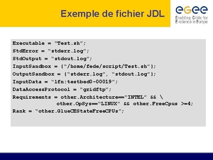 "Exemple de fichier JDL Executable = ""Test. sh""; Std. Error = ""stderr. log""; Std."