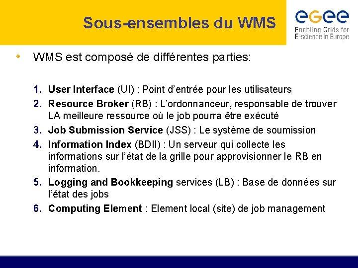 Sous-ensembles du WMS • WMS est composé de différentes parties: 1. User Interface (UI)