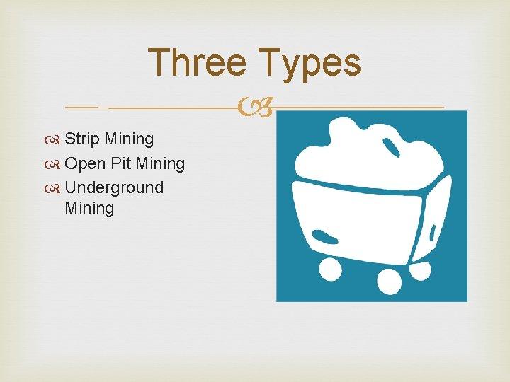 Three Types Strip Mining Open Pit Mining Underground Mining