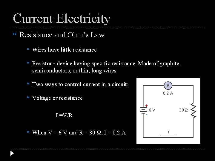 Current Electricity Resistance and Ohm's Law Wires have little resistance Resistor - device having
