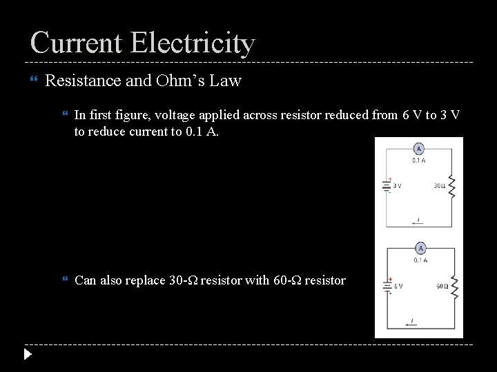 Current Electricity Resistance and Ohm's Law In first figure, voltage applied across resistor reduced