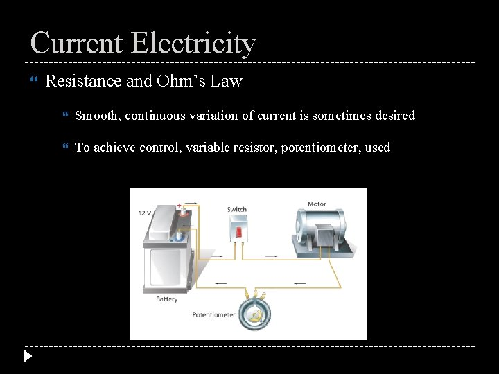 Current Electricity Resistance and Ohm's Law Smooth, continuous variation of current is sometimes desired