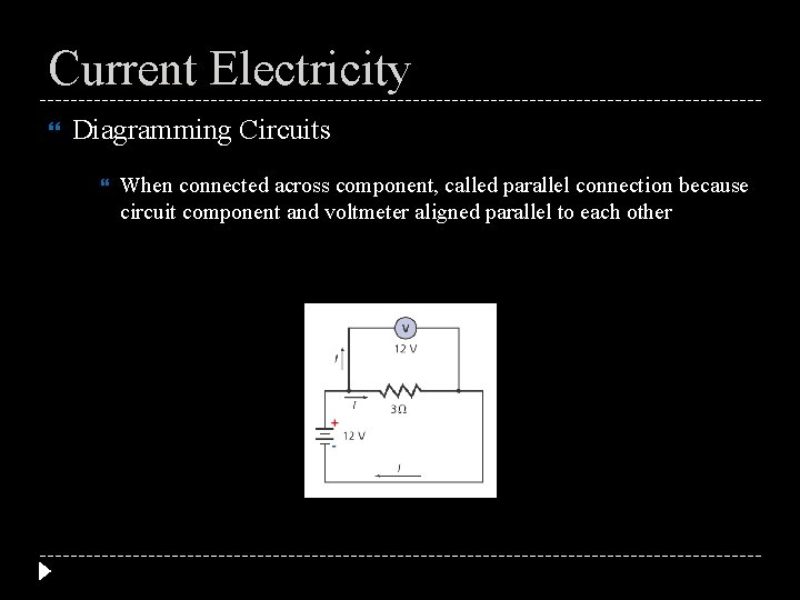 Current Electricity Diagramming Circuits When connected across component, called parallel connection because circuit component