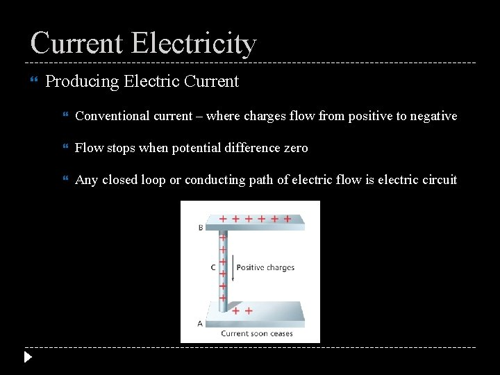 Current Electricity Producing Electric Current Conventional current – where charges flow from positive to