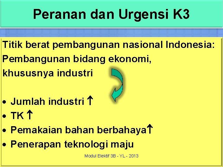 Peranan dan Urgensi K 3 Titik berat pembangunan nasional Indonesia: Pembangunan bidang ekonomi, khususnya