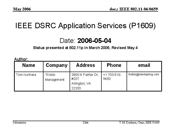 May 2006 doc. : IEEE 802. 11 -06/0659 IEEE DSRC Application Services (P 1609)