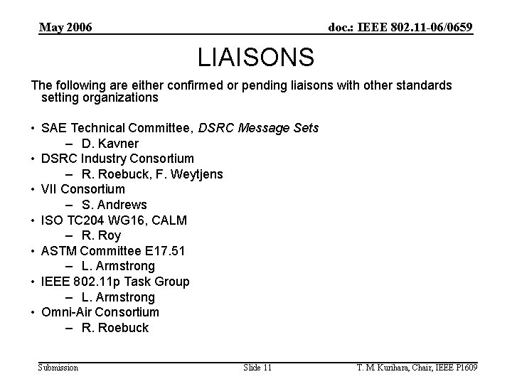 May 2006 doc. : IEEE 802. 11 -06/0659 LIAISONS The following are either confirmed