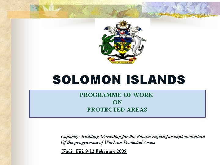 SOLOMON ISLANDS PROGRAMME OF WORK ON PROTECTED AREAS Capacity- Building Workshop for the Pacific