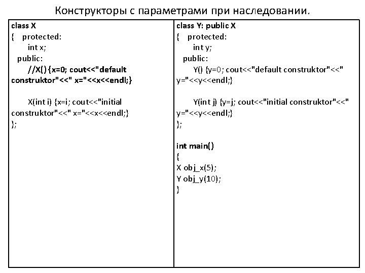 Конструкторы с параметрами при наследовании. class X { protected: int x; public: //X() {x=0;