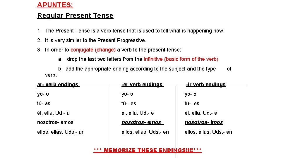 APUNTES: Regular Present Tense 1. The Present Tense is a verb tense that is