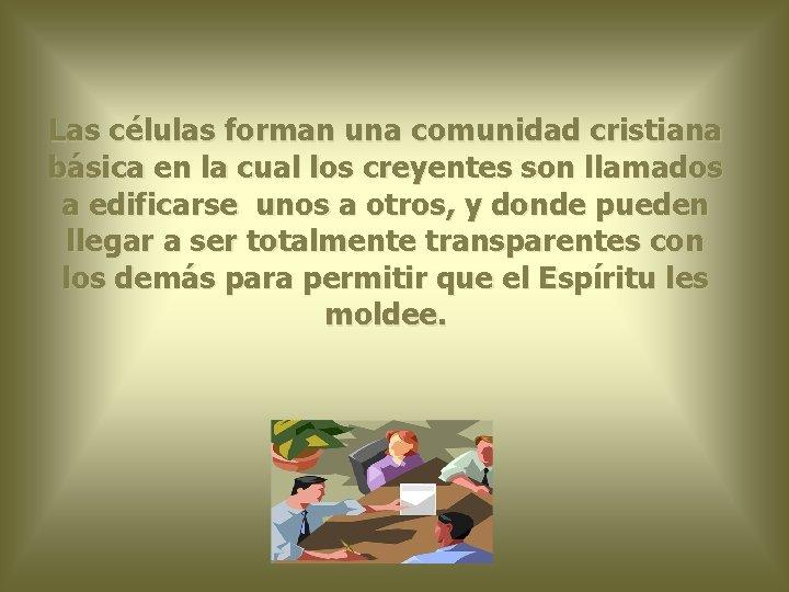 Las células forman una comunidad cristiana básica en la cual los creyentes son llamados