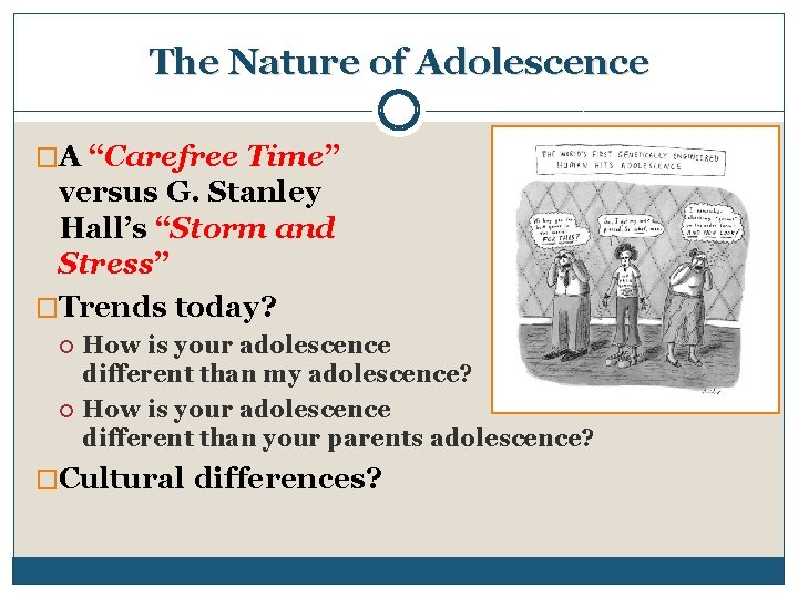 """The Nature of Adolescence �A """"Carefree Time"""" versus G. Stanley Hall's """"Storm and Stress"""""""