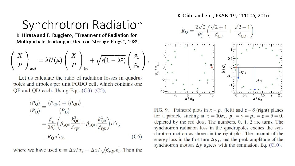 """Synchrotron Radiation K. Hirata and F. Ruggiero, """"Treatment of Radiation for Multiparticle Tracking in"""