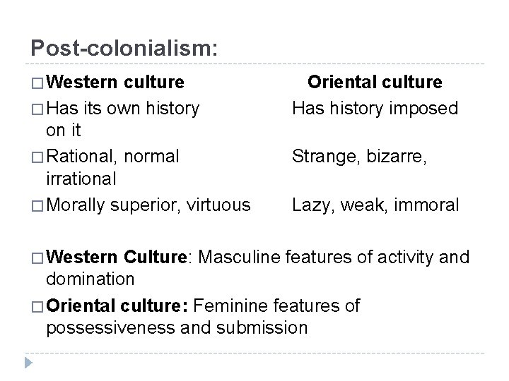 Post-colonialism: � Western culture Oriental culture � Has its own history Has history imposed